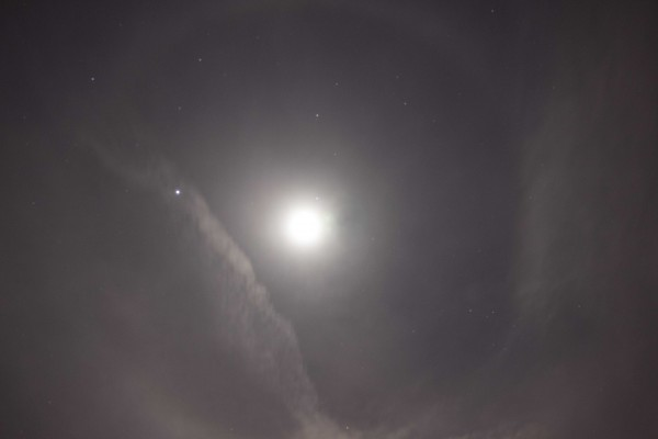 Kurt Zeppetello in Monroe, Lousiana, captured a halo around the moon, with Jupiter inside the halo, on April 16.