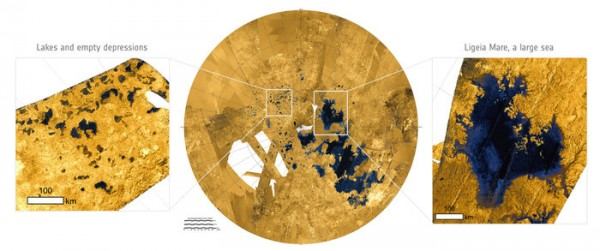 A radar image of Titan's north polar regions (centre), with close ups of numerous lakes (left) and a large sea (right). The sea, Ligeia Mare, measures roughly 420 x 350 km and is the second largest known body of liquid hydrocarbons on Titan. Its shorelines extend for some 2000 km and many rivers can be seen draining into the sea. By contrast, the numerous lakes are typically less than 100 km across and have more rounded shapes with steep sides.  Images via Cassini spacecraft.