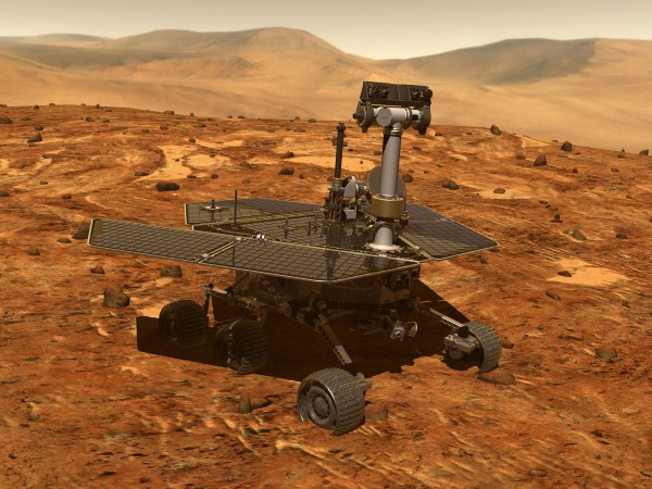 Artist's concept of the rover Opportunity on Mars. This rover - and its twin rover Spirit - were launched from Earth in 2003. Image via NASA