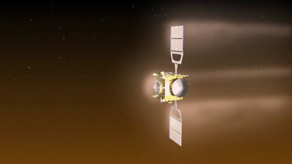 Artist's concept of Venus Express while aerobraking. The craft was orbiting Venus at an altitude of about 80 miles (130 km) from June 18 to July 11, 2014.