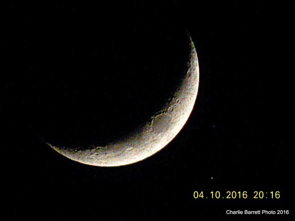 Moon and Aldebaran on April 10, 2016 from Charlie Barrett in New Haven, Connecticut.
