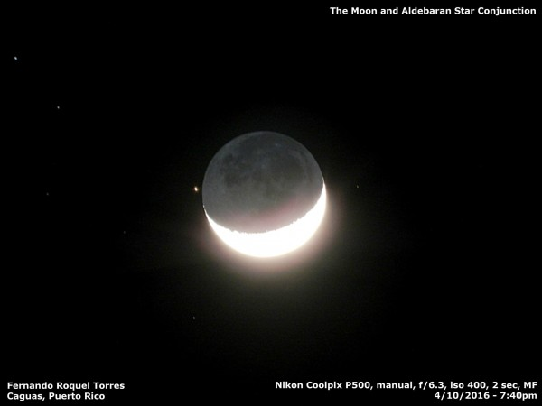 Fernando Roquel in Caguas Puerto caught Aldebaran after the occultation, when it re-emerged from behind the moon.