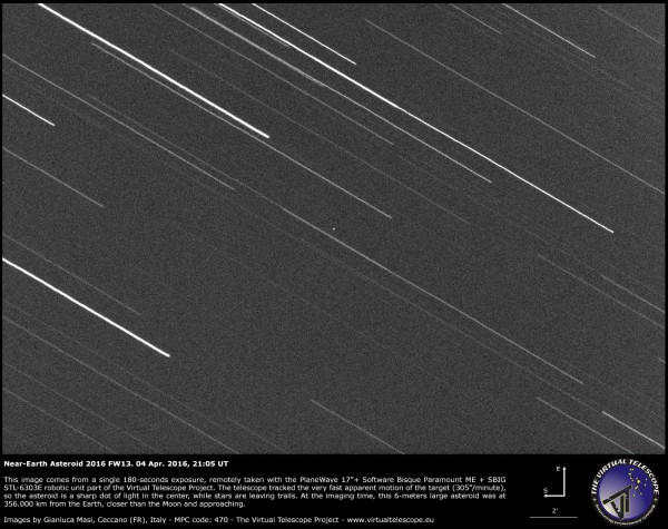 View larger.   Asteroid 2016 FW13 - which passed on April 5, 2016 - via Gianluca Masi at the Virtual Telescope Project.