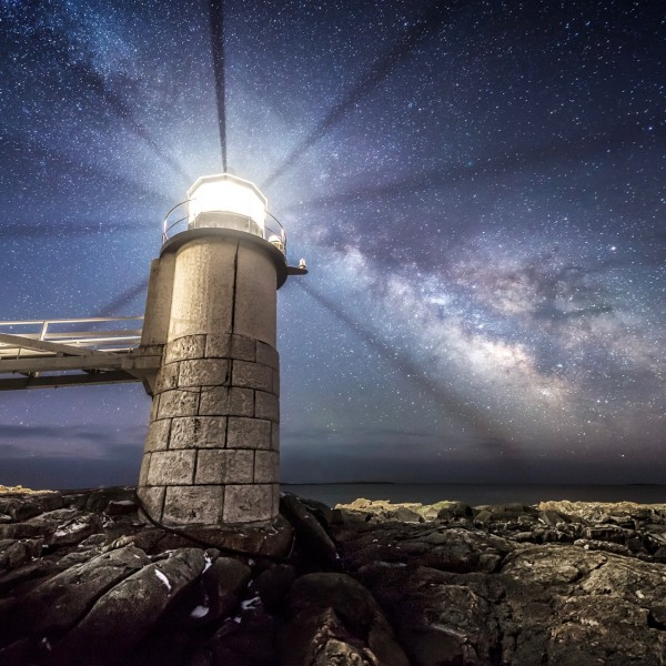 View larger. | Marshall Point Lighthouse and the comet via Mike Taylor Photography. Mike sent in this photo on  April 14 and wrote: