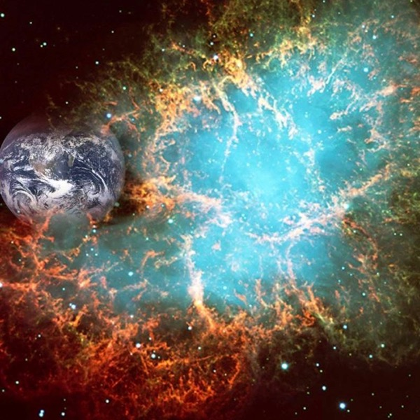 Composite (and fanciful) image of a supernova near Earth.  This composite uses an image of the Crab Nebula, a real supernova remnant, from the NASA/ESA-Hubble Space Telescope.  Image via Anton Wallner.