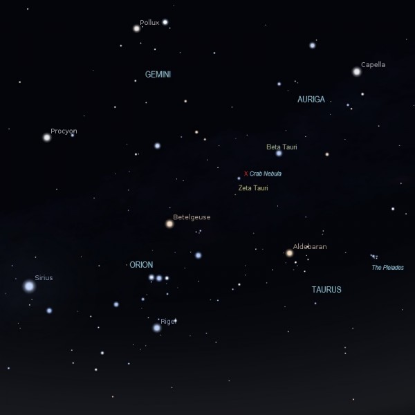 Crab Nebula finder chart with Orion, Gemini, Auriga constellations and labeled bright stars.