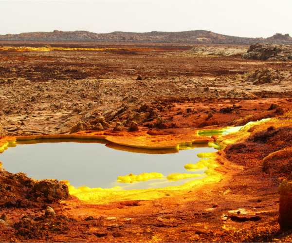 Hydrothermal system at the Danakil Depression. The yellow deposits are a variety of sulphates and the red areas are deposits of iron oxides. Image credit: Felipe Gomez/Europlanet 2020 RI