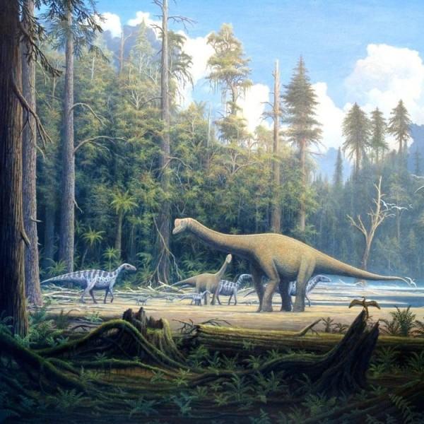 Artist's concept of dinosaurs, via Gerhard Boeggemann at Wikimedia Commons.