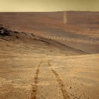 Color-processed view of Opportunity's great dust devil shot, by artist Don Davis.  Read more about this image on Davis' Facebook page.