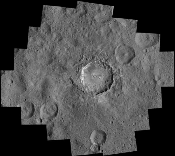 This image is a mosaic of views that NASA's Dawn spacecraft took in its low-altitude mapping orbit, at a distance of 240 miles (385 kilometers) from the surface of Ceres. In the center is Haulani Crater, which has a diameter of 21 miles (34 kilometers). mage credit: NASA/JPL-Caltech/UCLA/MPS/DLR/IDA/PSI