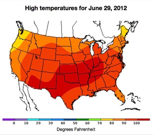 The heat wave predicted by the ocean temp pattern - called the __ - above. June 29, 2012, was the hottest day of the year in the eastern United States.
