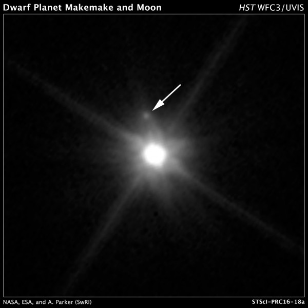 Discovery image for first-ever known moon orbiting the remote dwarf planet Makemake.
