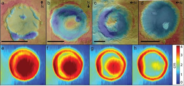 View larger.   Sediment-filled craters on Mars (top) in different stages of erosion compared with results of a crater model in wind-tunnel experiment (bottom). Warm colors indicate high elevation, cool colors low elevation. Image via Mackenzie Day.