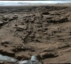 Image taken from the Mastcam on NASA's Curiosity Mars rover shows the rugged surface of the Naukluft Plateau, plus upper Mount Sharp at right and part of the rim of Gale Crater. Image credit: NASA/JPL-Caltech/MSSS