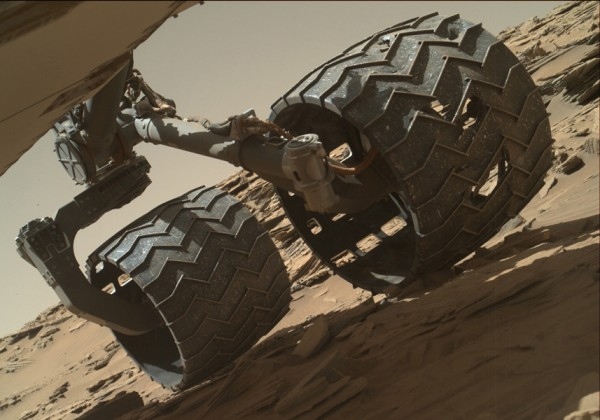 The team operating NASA's Curiosity Mars rover uses the MAHLI camera on the rover's arm to check the condition of the wheels at routine intervals. Image credit: NASA/JPL-Caltech/MSSS