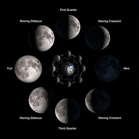 Moon phases and labels.