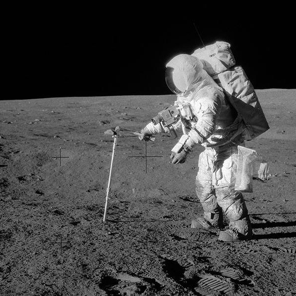 Moon rocks collected b Apollo astronauts have been found to contain an element created only by supernovae. Here, Apollo 12-astronaut Alan Bean takes a sample of the lunar surface. Photo via NASA.