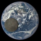 Moon transits in front of the sunlit face of Earth, as seen by the DSCOVR satellite on July 15, 2015.