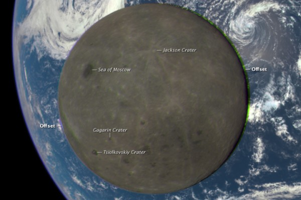 Named features on the far side of the moon, sit transits Earth in July, 2015. Image via NASA's DSCOVR satellite.