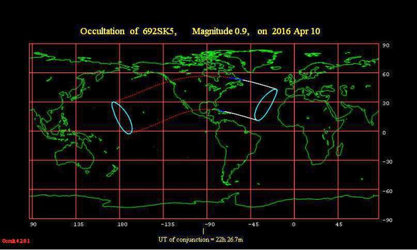 View larger. The lunar occultation of Aldebaran happens at evening in between the solid white lines, at dusk between the solid blue lines and at daytime in between the dotted red lines. Chart via the International Occultation Timing Association (IOTA)
