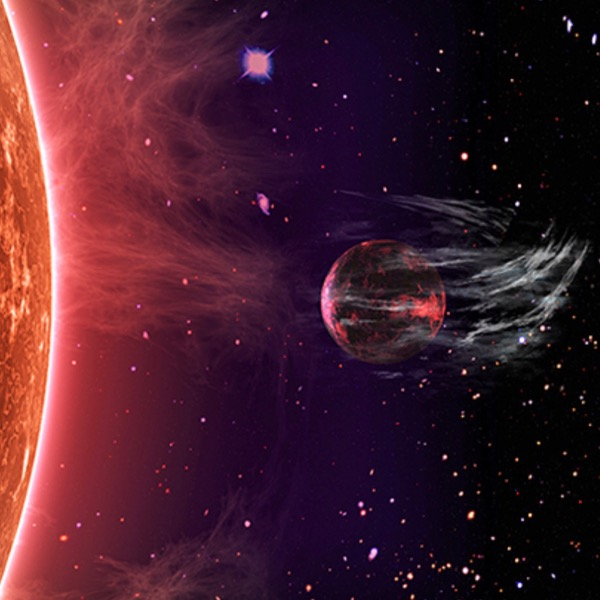View larger.   Artist's concept of a planet's atmosphere being stripped by its star. Illustration by Peter Devine via Yale University.