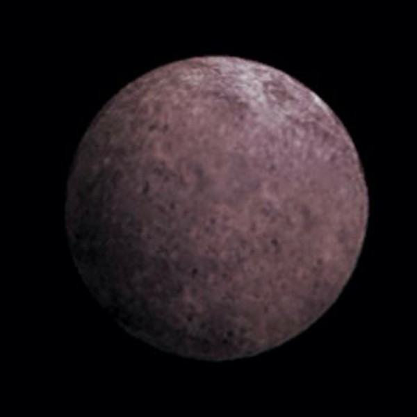 Artist's concept of 2007 OR10, aka Snow White. It may have a rosy color, due to the presence of irradiated methane. Image via NASA.