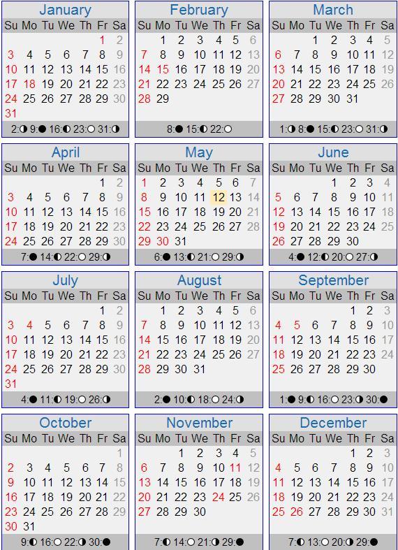 2016 calendar via timeanddate.com