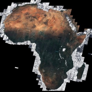 Mosaic image of Africa, contains modified Copernicus Sentinel data (2016), processed by Brockmann Consult/ Université catholique de Louvain as part of ESA's Climate Change Initiative Land Cover project