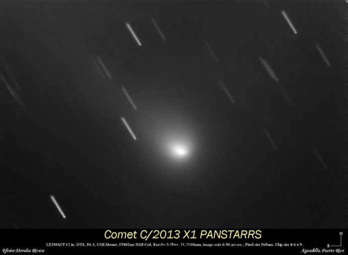 View larger. | Comet C/2013 X1 (PanSTARRS) captured earlier this year by Efraín Morales of the Sociedad de Astronomía del Caribe.