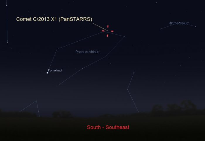 Location of Comet C/2013 X1 (PanSTARRS) on the morning of June 10. Facing South-southeast about one hour before sunrise. Illustration by Eddie Irizarry using Stellarium.