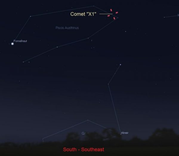 As seen from central U.S. , on the morning of June 11, the comet is located less than 2 moon diameters from Theta Piscis Austrinus, a star visible to the eye in the south-southeast direction. This star, which is also known as HIP 107608, appears double or multiple in small telescopes. Illustration by Eddie Irizarry using Stellarium.