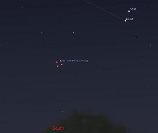 On the morning of June 22, 2016 - day of closest approach - the comet is visible using binoculars in the south direction, not far from these bright stars in Sagittarius. However, during closest approach it'll be low on the horizon, which means observers in the southern U.S. and lower latitudes will have a better view of the celestial visitor. Illustration by Eddie Irizarry using Stellarium.