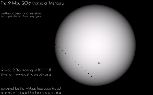 Watch the transit of Mercury online via Virtual Telescope project.
