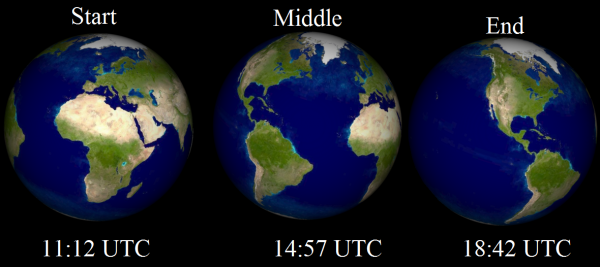 View larger. Simulation of planet Earth, as seen from the sun and Mercury, at the start, middle and end of the the transit, representing a total of 7.5 hours from start to finish. The Earth's right limb depicts where it's sunset and left limb where it's sunrise. The sun is at zenith (straight overhead) over Africa at the start, the Atlantic at the middle and Mexico at the end.