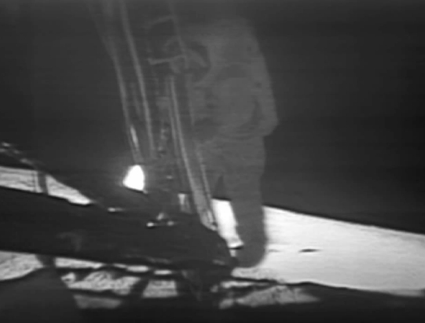A space-suited astronaut descending to the moon's surface, in the Apollo missions.
