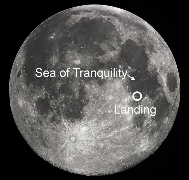 Apollo 11 landing site, 1969.  Image by Soerim via Wikimedia Commons.