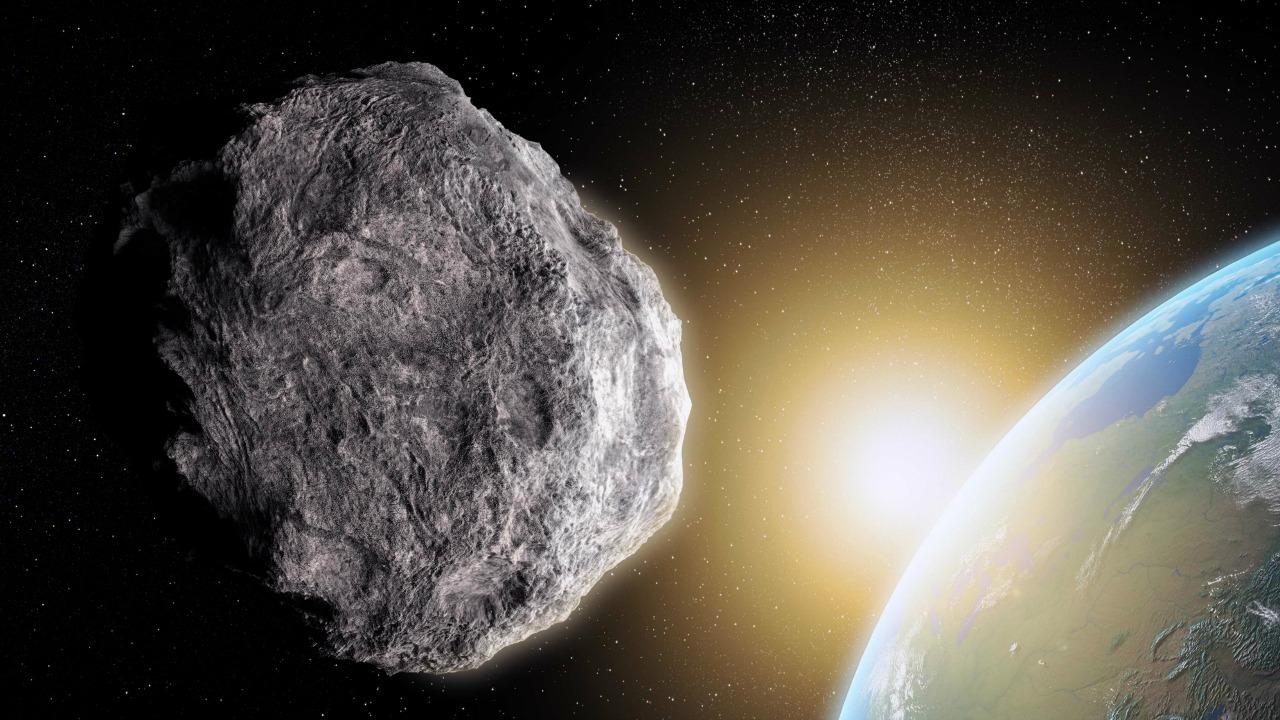 Artist's illustration of asteroid headed toward Earth.