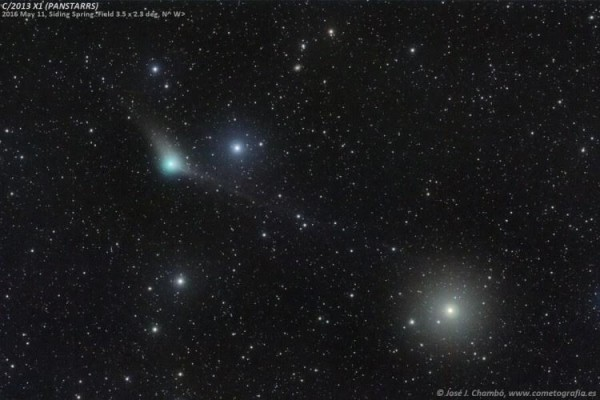 Comet C/2013 X1 (PANSTARRS) imaged on May 11 2016, showing two tails. The bright star is Phi Aquari, a naked eye star with magnitude 4. Image taken remotely from Siding Spring, Australia by José J. Chambó (cometografia.es). Used with permission.