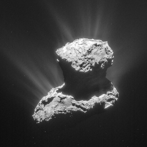 This single frame from Rosetta's navigation camera of Comet 67P/Churyumov–Gerasimenko Read more about this image from ESA.