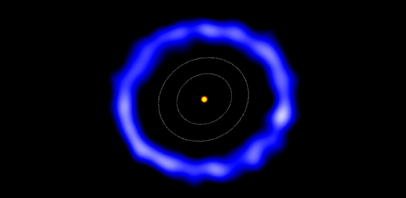 ALMA image of the ring of comets around HD 181327 (colours have been changed). The white contours represent the size of the Kuiper Belt in the Solar System. Image via Amanda Smith, University of Cambridge.
