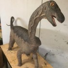 Life-sized sculpture depicting how a baby Rapetosaurus might have looked in real life.  Aw! Image via Kristi Curry Rogers.