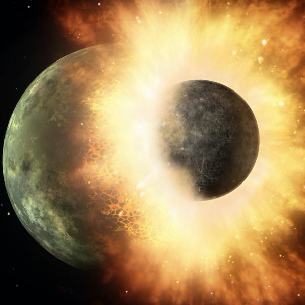 Artist's concept of a celestial body roughly the size of Earth's moon slamming into a body the size of Mercury.  Image via NASA/JPL-Caltech.