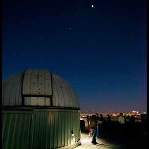 """Jim Elliott of Powell, Ohio, contributed this photo. He wrote: """"The moon over Jupiter over Columbus, Ohio, at the OSU planetarium star party. April 16, 2016."""""""