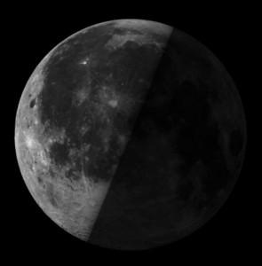Half-lit last quarter moon on June 17 2017