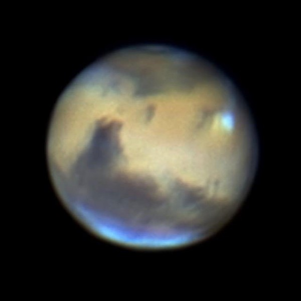 Mars at the 2016 opposition (May 22), via Fernando Rodriquez in south Florida.  You can see hints of the polar ice caps in photos such as this one. Thank you, Fernando!