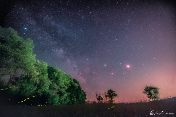 Mars, Saturn, Antares and fireflies! From Matt Pollock on May 29, 2016, in upstate New York.
