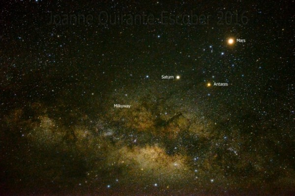 Joanne Richard Escober caught this image of Mars, Saturn and Antares on May 28 at Apo Reef Natural Park Occidental Mindoro, Philippines.