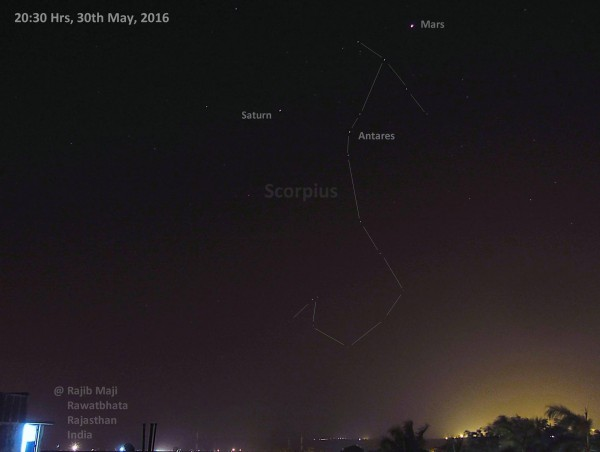 Rajiv Maji caught Mars, Saturn and Antares from India.