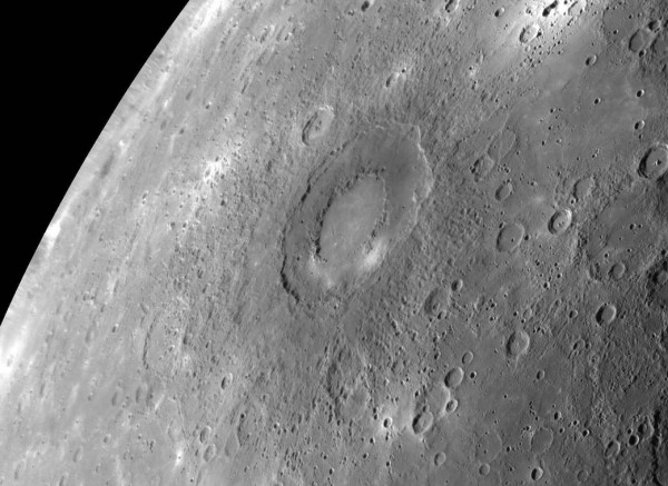 Rachmaninoff, an intriguing double-ring basin on Mercury, has been determined to be Mercury's lowest point.  Image via MESSENGER spacecraft.