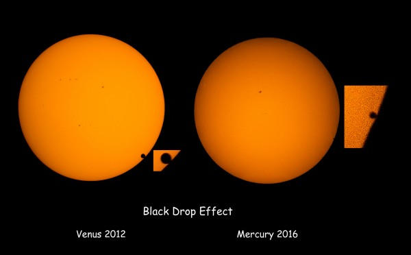 View larger. | Eliot Herman in Tucson caught the famous black drop effect for the May 9 Mercury transit, shown here in contrast to the same effect seen on Venus. Read more about this image on Eliot's Fickr page.